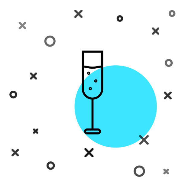 Black line Glass of champagne icon isolated on white background. Random dynamic shapes. Vector Illustration Black line Glass of champagne icon isolated on white background. Random dynamic shapes. Vector Illustration anniversary clipart stock illustrations