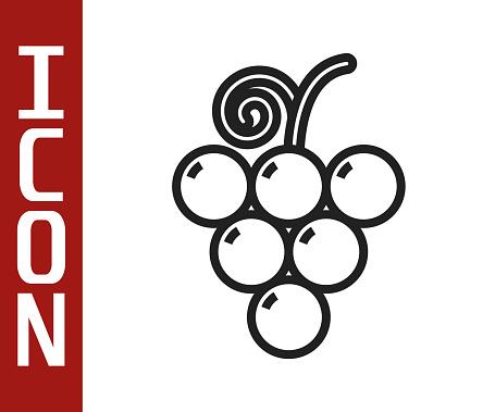 Black line Grape fruit icon isolated on white background. Vector Illustration