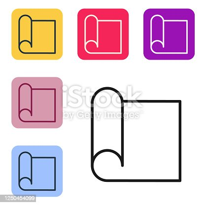 Black line Graphing paper for engineering icon isolated on white background. Set icons in color square buttons. Vector Illustration