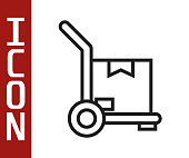 istock Black line Hand truck and boxes icon isolated on white background. Dolly symbol. Vector Illustration 1248989002
