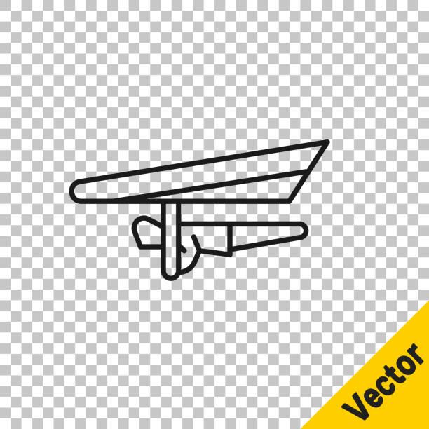 ilustrações, clipart, desenhos animados e ícones de linha preta ícone do planador hang isolado em fundo transparente. esporte extremo. ilustração vetorial - ícones de design planar