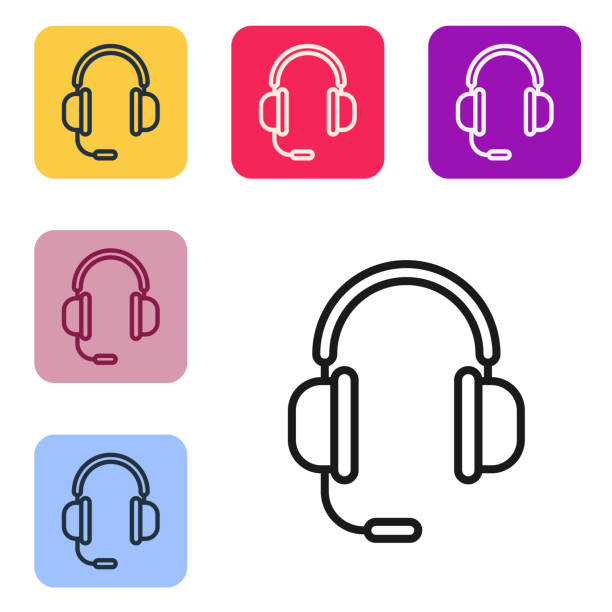 Black line Headphones with microphone icon isolated on white background. Set icons in color square buttons. Vector Illustration Black line Headphones with microphone icon isolated on white background. Set icons in color square buttons. Vector Illustration music and entertainment icons stock illustrations