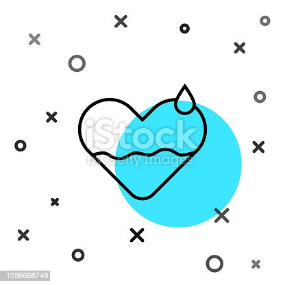 Black line Heart heal icon isolated on white background. Random dynamic shapes. Vector Illustration