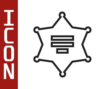 Black line Hexagram sheriff icon isolated on white background. Police badge icon. Vector Illustration