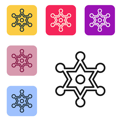 Black line Hexagram sheriff icon isolated on white background. Police badge icon. Set icons in color square buttons. Vector