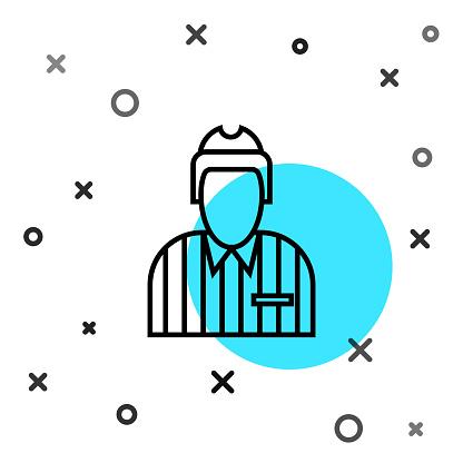 Black line Hockey judge, referee, arbiter icon isolated on white background. Random dynamic shapes. Vector Illustration
