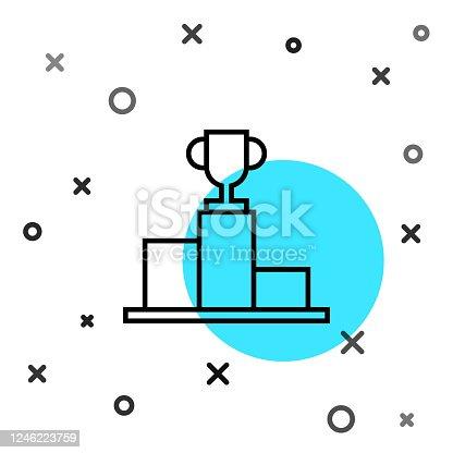 istock Black line Hockey over sports winner podium icon isolated on white background. Random dynamic shapes. Vector Illustration 1246223759