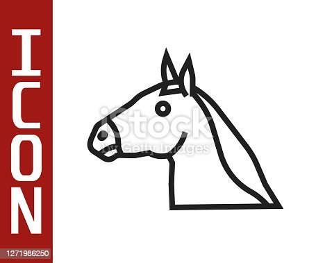 Black line Horse head icon isolated on white background. Animal symbol. Vector.