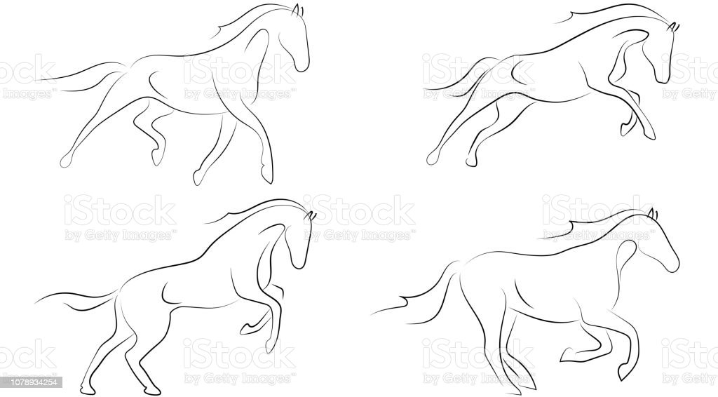 Black line horse on white background. Running horse sketch style. Vector graphic icon animal. vector art illustration