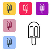 Black line Ice cream icon isolated on white background. Sweet symbol. Set icons in color square buttons. Vector Illustration