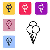 Black line Ice cream in waffle cone icon isolated on white background. Sweet symbol. Set icons in color square buttons. Vector Illustration
