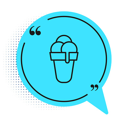 Black line Ice cream in waffle cone icon isolated on white background. Sweet symbol. Blue speech bubble symbol. Vector