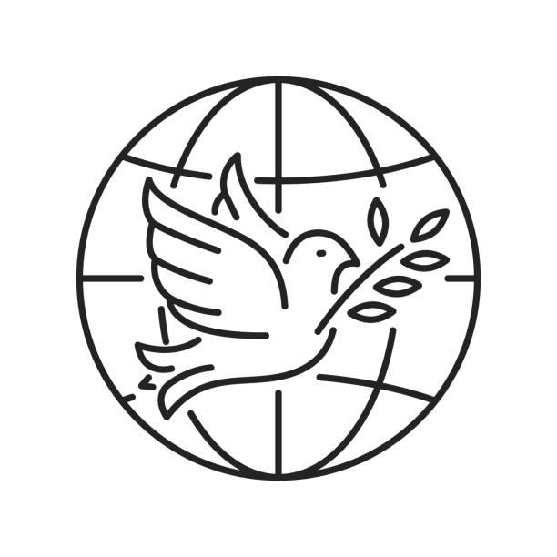 stockillustraties, clipart, cartoons en iconen met (non-gouvernementele organisatie) zwarte lijn pictogram. non-profit gemeenschap. internationale vrijwilliger. pictogram voor webpagina, mobiele app, promo. - non profit