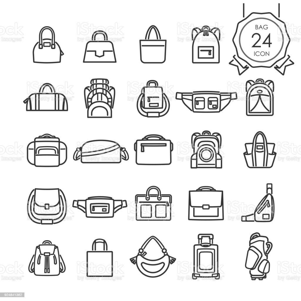 Conjunto de ícones de linha preta de sacos para o site isolado no fundo branco, ilustração vetorial. - ilustração de arte em vetor
