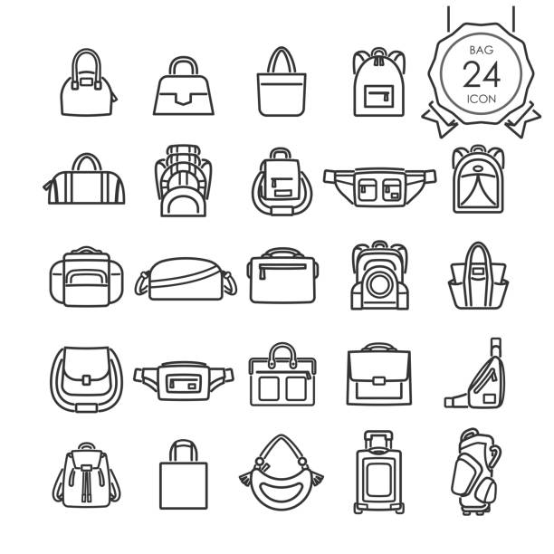 illustrazioni stock, clip art, cartoni animati e icone di tendenza di black line icons set of bags for website isolated on white background, vector illustration. - borsetta