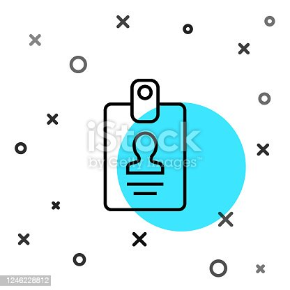 istock Black line Identification badge icon isolated on white background. It can be used for presentation, identity of the company, advertising. Random dynamic shapes. Vector Illustration 1246228812