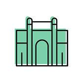 istock Black line India Gate in New Delhi, India icon isolated on white background. Gate way of India Mumbai. Vector 1283348950