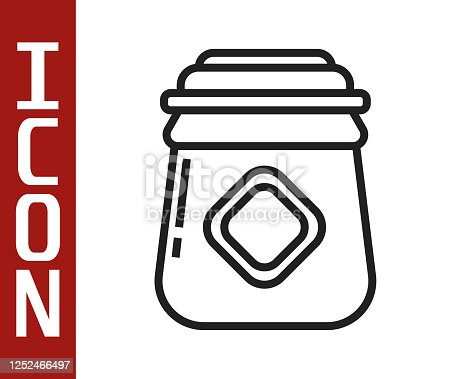 istock Black line Jar of honey icon isolated on white background. Food bank. Sweet natural food symbol. Vector Illustration 1252466497