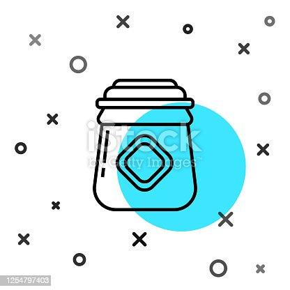 istock Black line Jar of honey icon isolated on white background. Food bank. Sweet natural food symbol. Random dynamic shapes. Vector Illustration 1254797403