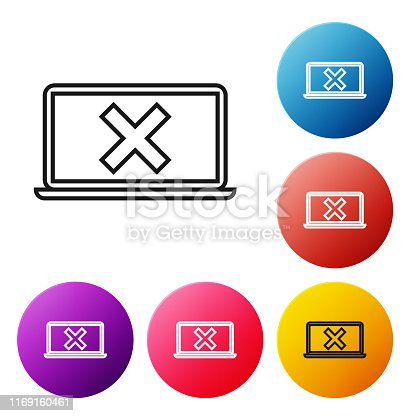 istock Black line Laptop and cross mark on screen icon on white background. Error window, exit button, cancel, 404 error page not found concept. Set icons colorful circle buttons. Vector Illustration 1169160461