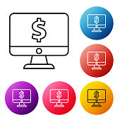 Black line Laptop with dollar symbol icon isolated on white background. Online shopping concept. Earnings in the Internet, marketing. Set icons colorful circle buttons. Vector Illustration