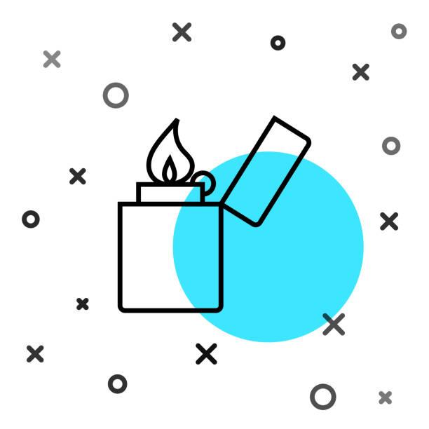 Black line Lighter icon isolated on white background. Random dynamic shapes. Vector Illustration Black line Lighter icon isolated on white background. Random dynamic shapes. Vector Illustration hot pockets stock illustrations