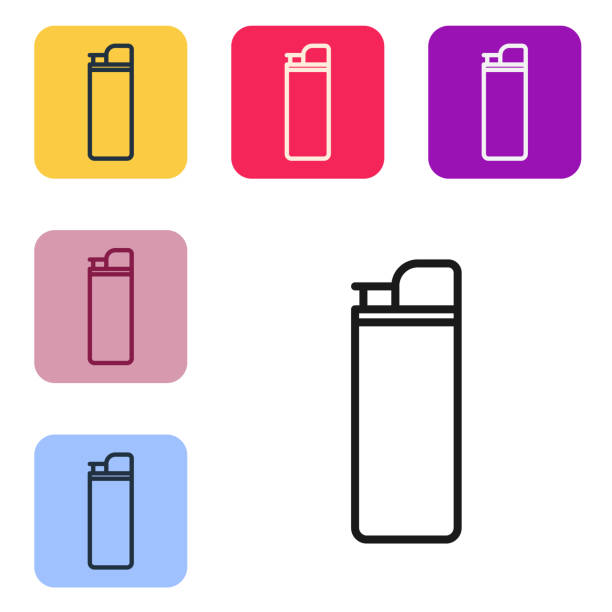 Black line Lighter icon isolated on white background. Set icons in color square buttons. Vector Illustration Black line Lighter icon isolated on white background. Set icons in color square buttons. Vector Illustration hot pockets stock illustrations
