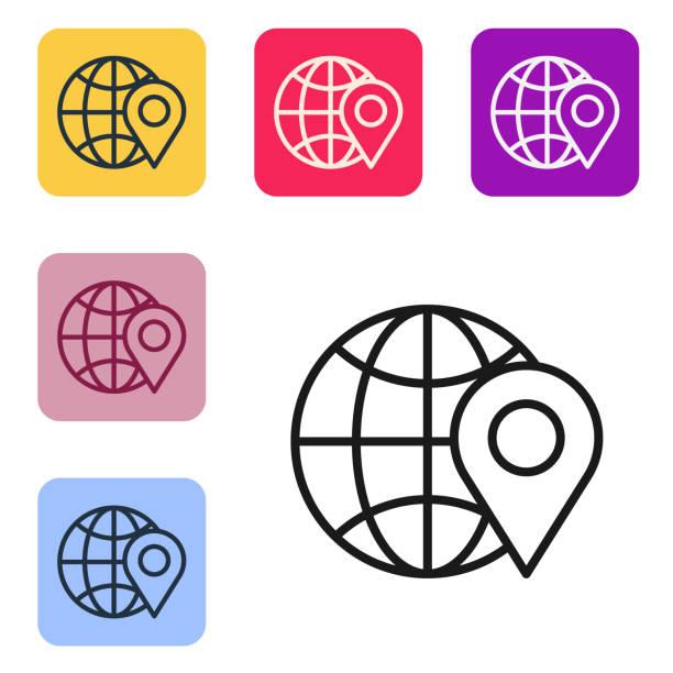 ilustrações de stock, clip art, desenhos animados e ícones de black line location on the globe icon isolated on white backgrou - europe points