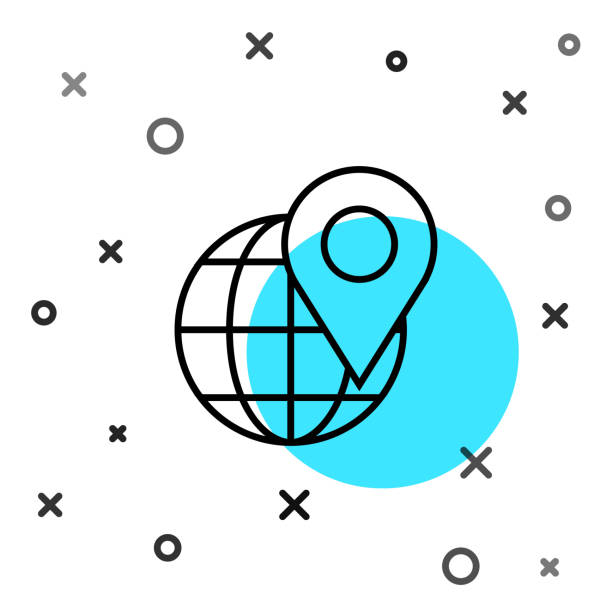 ilustrações de stock, clip art, desenhos animados e ícones de black line location on the globe icon isolated on white background. world or earth sign. random dynamic shapes. vector illustration - europe points