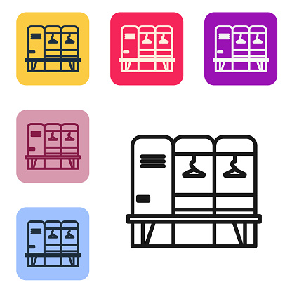 Black line Locker or changing room for hockey, football, basketball team or workers icon isolated on white background. Set icons in color square buttons. Vector Illustration