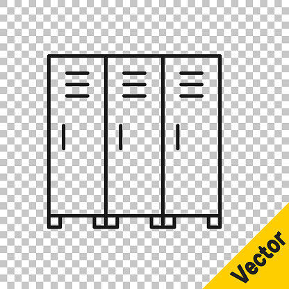 Black line Locker or changing room for hockey, football, basketball team or workers icon isolated on transparent background. Vector