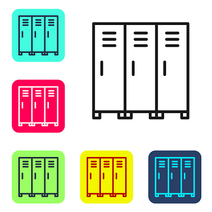 Black line Locker or changing room for hockey, football, basketball team or workers icon isolated on white background. Set icons in color square buttons. Vector