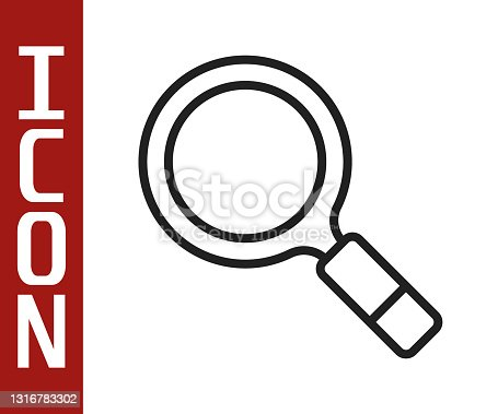 istock Black line Magnifying glass with search icon isolated on white background. Detective is investigating. Vector 1316783302