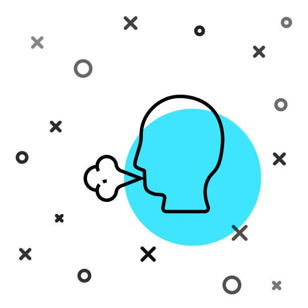 schwarze linie mann husten symbol isoliert auf weißem hintergrund. virusinfektion, grippe, grippe, erkältungssymptom. tuberkulose, mumps, keuchhusten. zufällige dynamische formen. vektor-illustration. - ein mann allein stock-grafiken, -clipart, -cartoons und -symbole