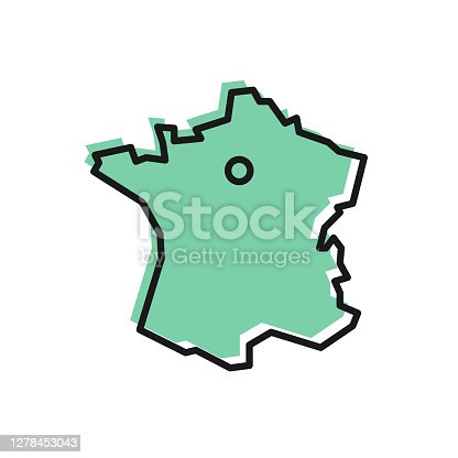 istock Black line Map of France icon isolated on white background. Vector 1278453043