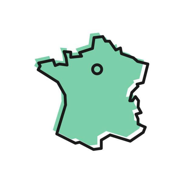 illustrations, cliparts, dessins animés et icônes de icône de la carte de la ligne noire de france isolée sur fond blanc. vecteur - carte de france