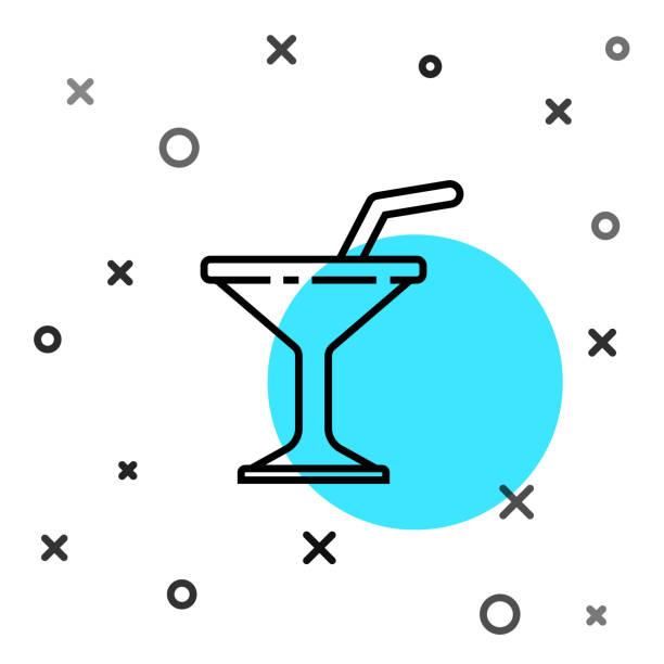 Black line Martini glass icon isolated on white background. Cocktail icon. Wine glass icon. Random dynamic shapes. Vector Illustration Black line Martini glass icon isolated on white background. Cocktail icon. Wine glass icon. Random dynamic shapes. Vector Illustration alcohol drink clipart stock illustrations