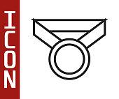 Black line Medal icon isolated on white background. Winner symbol. Vector Illustration