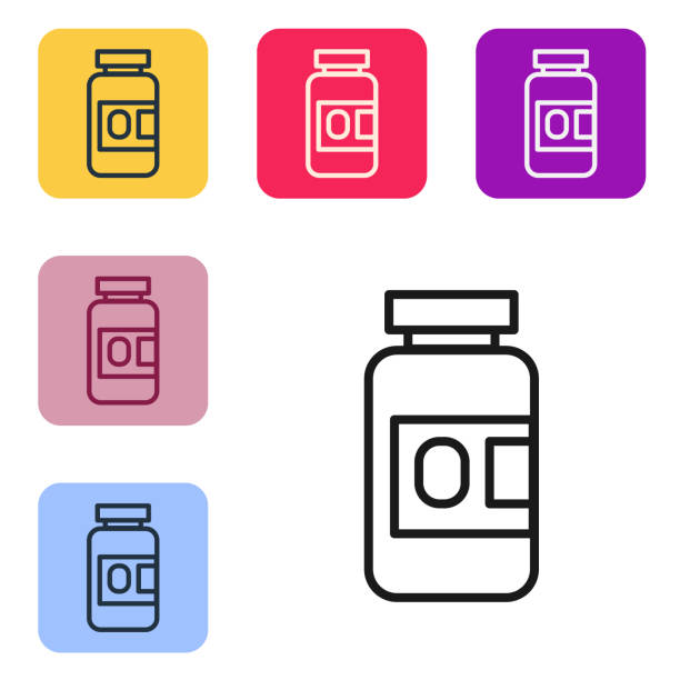 Black line Medicine bottle and pills icon isolated on white background. Bottle pill sign. Pharmacy design. Set icons in color square buttons. Vector Illustration Black line Medicine bottle and pills icon isolated on white background. Bottle pill sign. Pharmacy design. Set icons in color square buttons. Vector Illustration aspirin stock illustrations