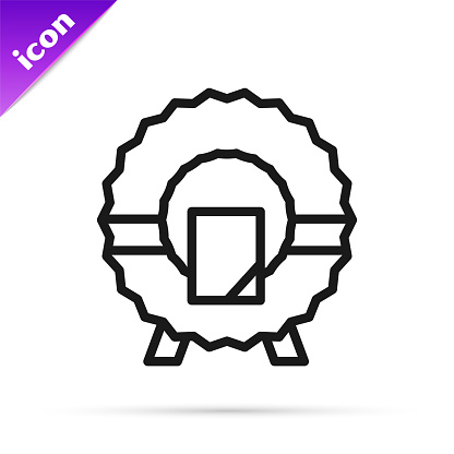 Black line Memorial wreath icon isolated on white background. Funeral ceremony. Vector