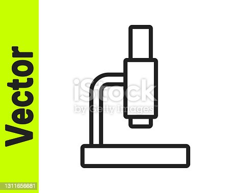 istock Black line Microscope icon isolated on white background. Chemistry, pharmaceutical instrument, microbiology magnifying tool. Vector 1311656681