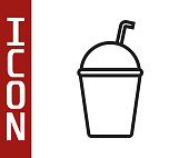 Black line Milkshake icon isolated on white background. Plastic cup with lid and straw. Vector Illustration