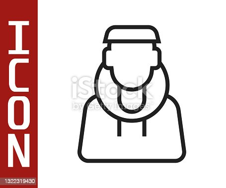 istock Black line Monk icon isolated on white background. Vector 1322319430