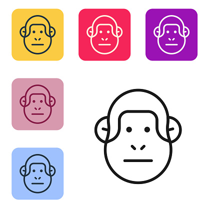 Black line Monkey icon isolated on white background. Animal symbol. Set icons in color square buttons. Vector