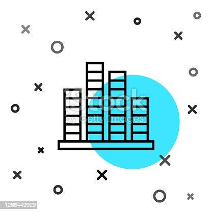Black line Music equalizer icon isolated on white background. Sound wave. Audio digital equalizer technology, console panel, pulse musical. Random dynamic shapes. Vector Illustration