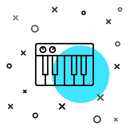 Black line Music synthesizer icon isolated on white background. Electronic piano. Random dynamic shapes. Vector Illustration