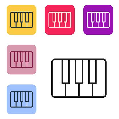 Black line Music synthesizer icon isolated on white background.
