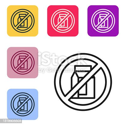 istock Black line No pack of milk icon isolated Black line background. Not allow milk. Allergy concept, lactose intolerance allergy warning sign. Set icons in color square buttons. Vector 1318905503