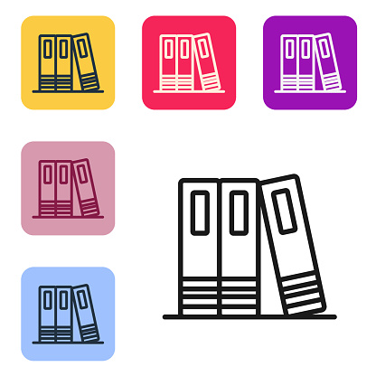 Black line Office folders with papers and documents icon isolated on white background. Office binders. Archives folder sign. Set icons in color square buttons. Vector