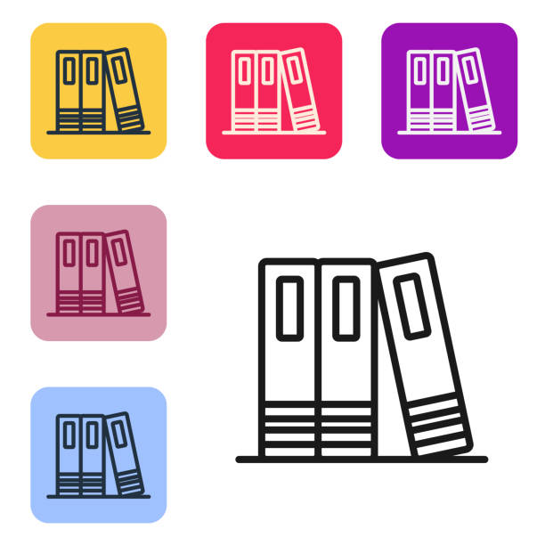 Black line Office folders with papers and documents icon isolated on white background. Office binders. Archives folder sign. Set icons in color square buttons. Vector Black line Office folders with papers and documents icon isolated on white background. Office binders. Archives folder sign. Set icons in color square buttons. Vector. business clipart stock illustrations